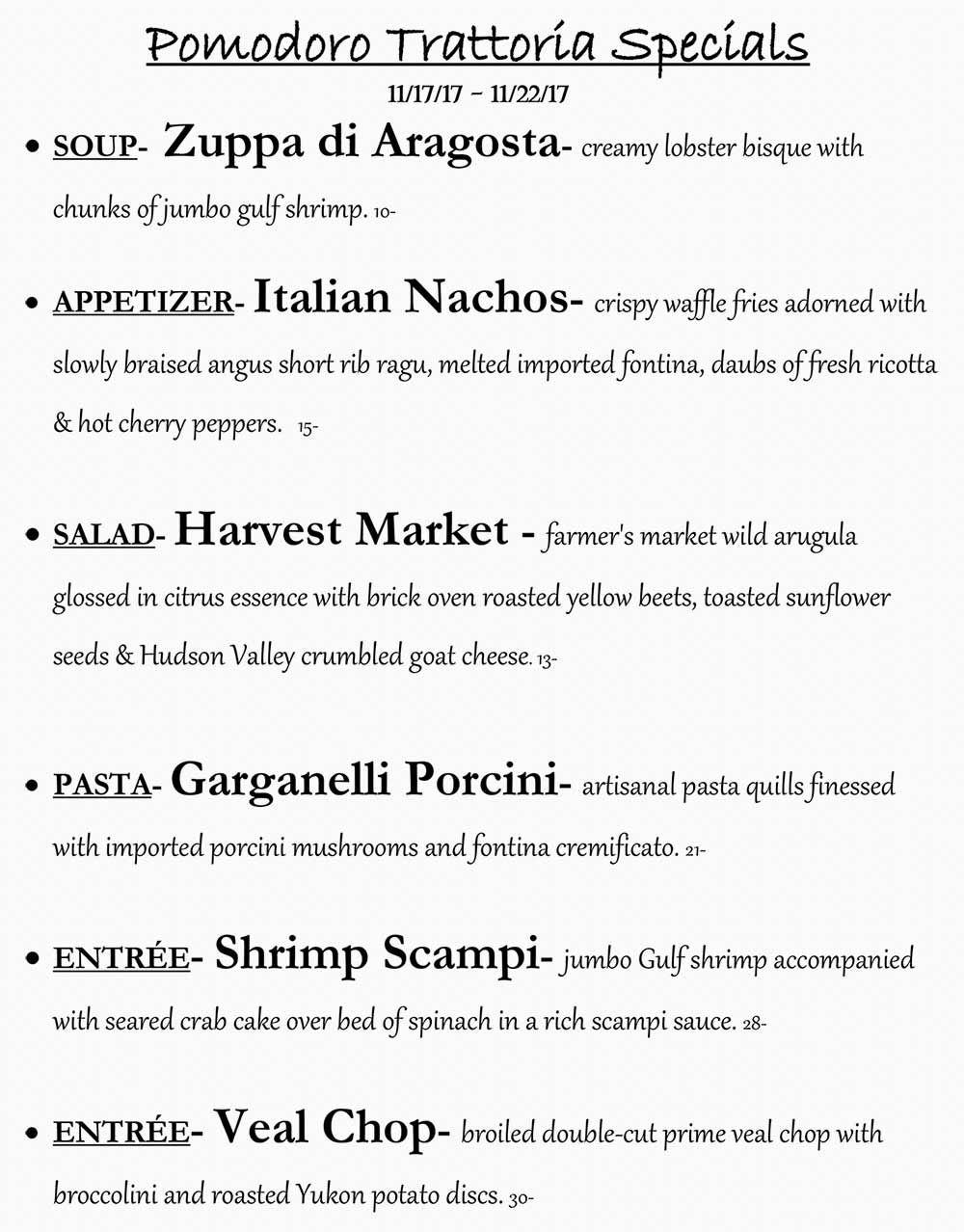 Pomodoro Riverside Weekly Specials from 11/17 - 11/23