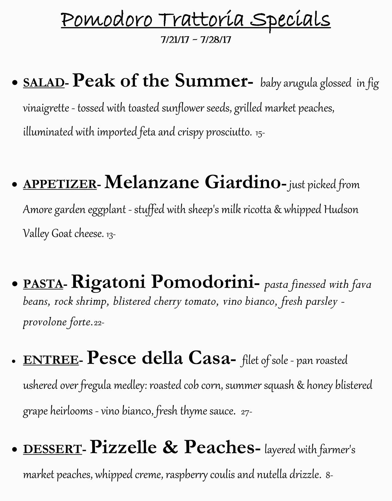 Pomodoro Riverside Weekly Specials from 07/21 - 07/28