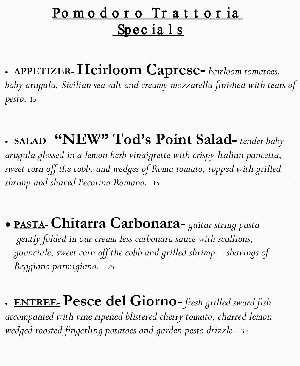 Pomodoro Riverside Weekly Specials from 07/12 - 07/19