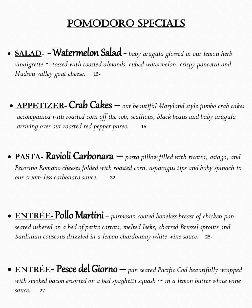 Pomodoro Riverside Weekly Specials from 06/07- 06/13