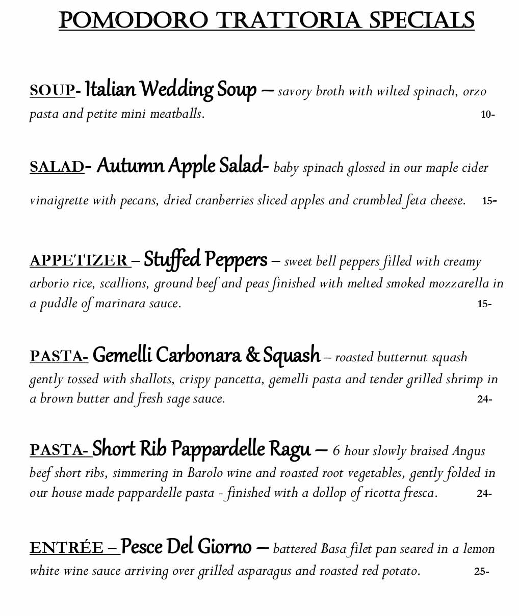 Pomodoro Riverside Weekly Specials from 11/08 - 11/14