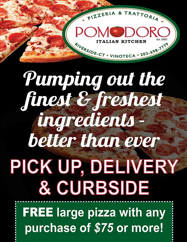 Pick up Delivery curbside, free large pizza with any purchase of $75 or more